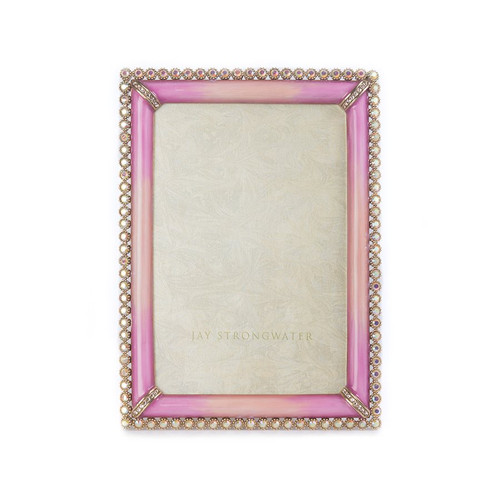 """Jay Strongwater Lorraine Stone Edge 4"""" x 6"""" Square Frame - Rose - Special Order"""