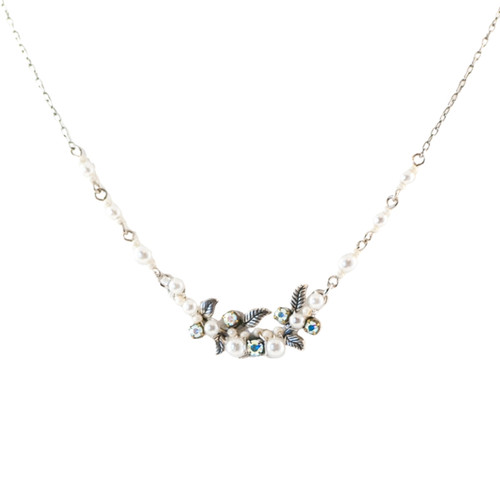 White Petite Flora Necklace with Glass Pearls 8188 - Firefly Jewelry