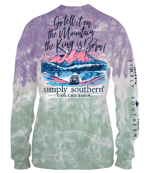 Medium The King is Born Bohemian Long Sleeve Tee by Simply Southern