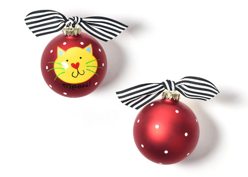 Meow Red Cat Glass Ornament by Happy Everything!