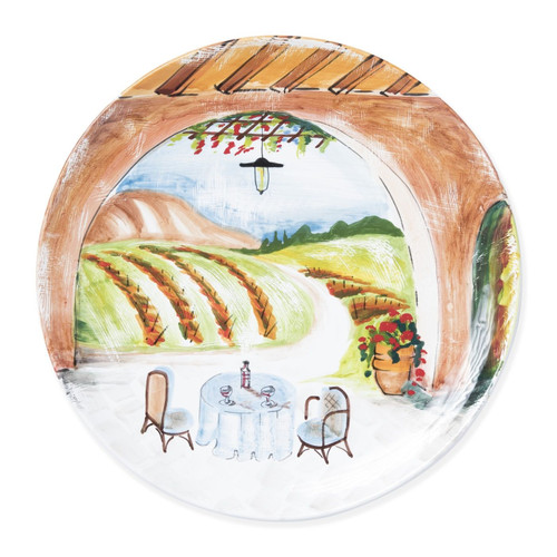 Vietri Landscape Inside Looking Out Round Wall Plate - Special Order