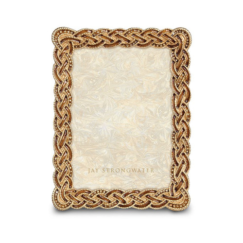 """Jay Strongwater Belinda Braided 5"""" x 7"""" Frame - Amber - Special Order"""