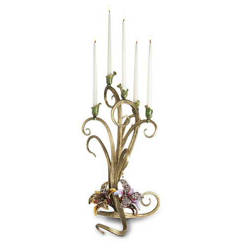 Jay Strongwater Aubree Orchid Candelabra - Special Order