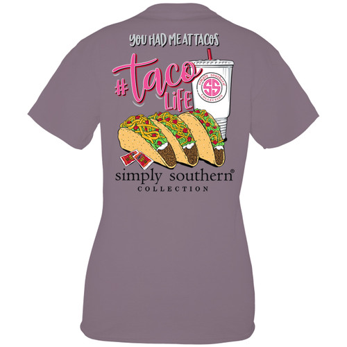 Small Taco Life Plum Short Sleeve Tee by Simply Southern