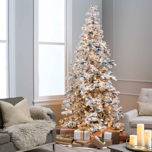 Flocked 7.5 ft. Layered Spruce by Sterling Tree