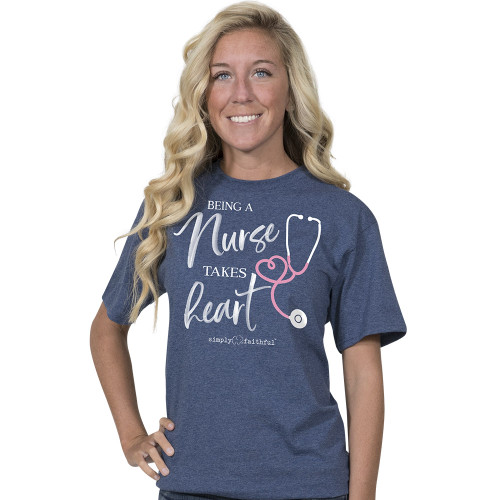 Large Being A Nurse Denim Simply Faithful Fitted Tee by Simply Southern