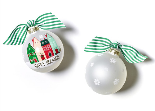 Happy Holidays Vintage Village Glass Ornament by Happy Everything!