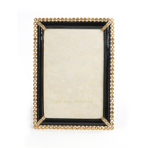 """Jay Strongwater Lorraine Stone Edge 4"""" x 6"""" Frame - Black - Special Order"""