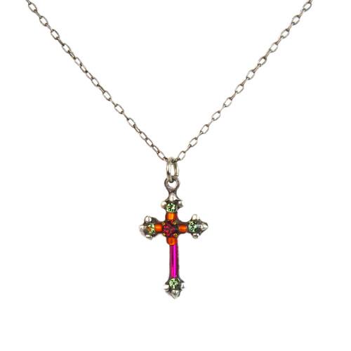 Fuchsia Dainty Color Cross Necklace 8496 - Firefly Jewelry