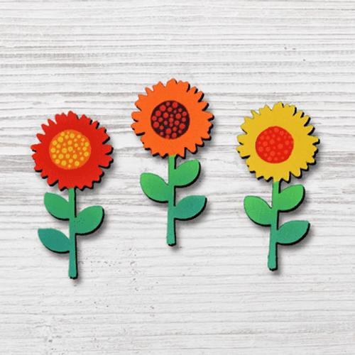 Sunflower Stem Magnets 3 Pack ROEDA HANDPAINTED ORIGINALS