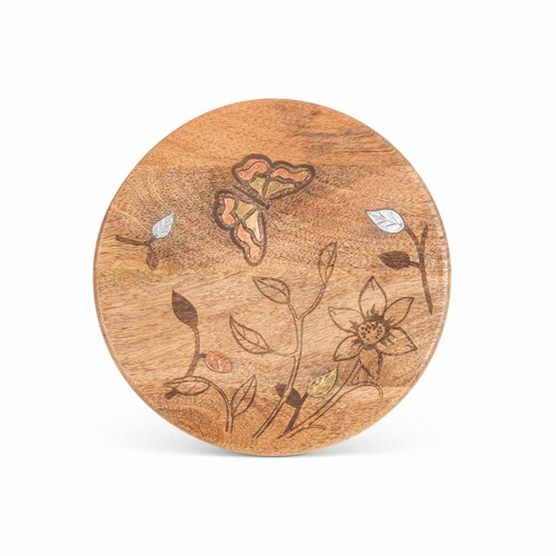 Mango Wood with Laser Butterfly Design Round Trivet - GG Collection