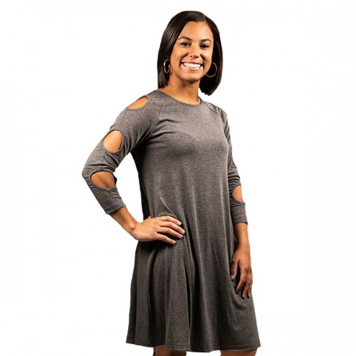 Small Dark Gray Cold Shoulder Dress by Simply Southern