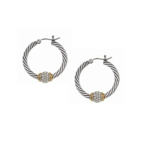 Pave Twisted Wire Hoop Earrings - John Medeiros