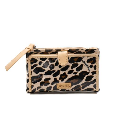 Mona Brown Leopard Slim Wallet by Consuela