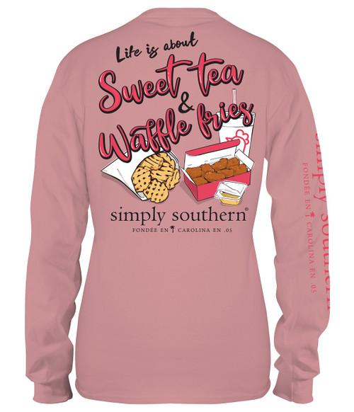 Medium Sweet Tea & Waffle Fries Crepe Long Sleeve Tee by Simply Southern
