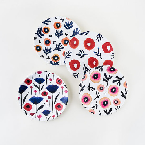 """Assorted Poppy """"Paper Plate Look"""" Melamine 9"""" Plate by One Hundred 80 Degrees - Set of 4"""