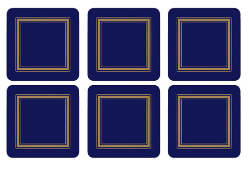 Set of 6 Classic Midnight Blue Coasters by Pimpernel - Special Order