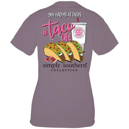 Medium Taco Life Plum Short Sleeve Tee by Simply Southern