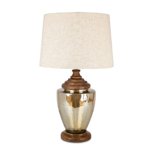 Acanthus Tapered Luster Amber Glass Lamp with Linen Shade - GG
