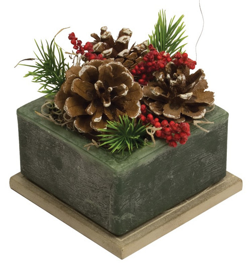 Frosted Pine Cone Geo Wax Pottery by Habersham Candle Co.