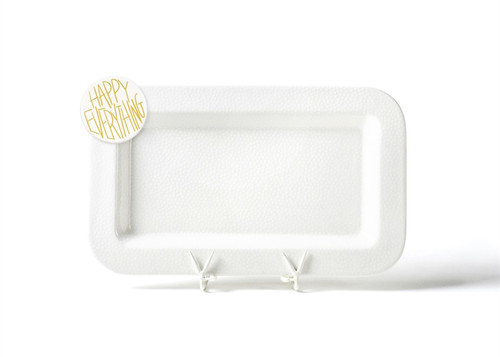 White Small Dot Mini Rectangle Entertaining Platter with Happy Everything! Attachment by Happy Every