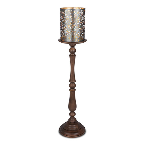 Large Etched Floral Hurricane and Carved Mango Wood Pillar Candleholder - GG Collection