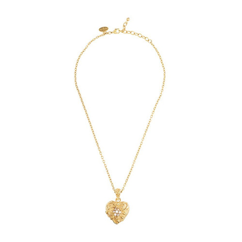 Jay Strongwater Gilded Scroll & Flower Heart Pendant (Special Order)