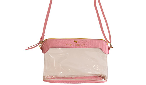 Pink Leather Clear Satchel by Simply Southern