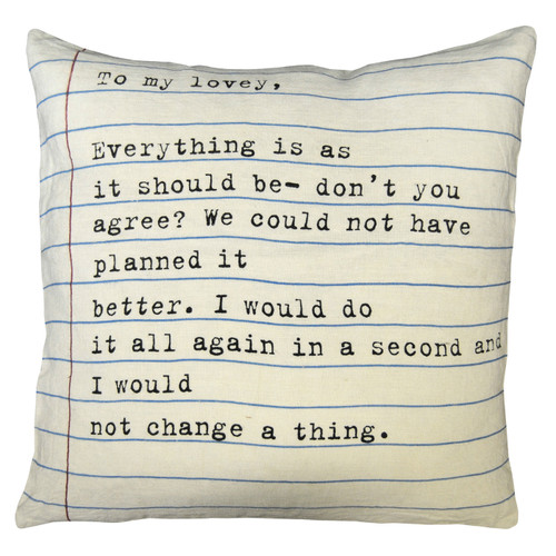 """24"""" X 24"""" To My Lovey Pillow by Sugarboo Designs - Special Order"""