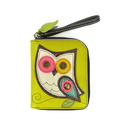 Mustard Owl Zip-Around Wallet