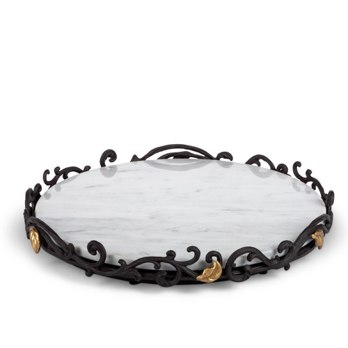 Gold Leaf Marbled Lazy Susan with Metal Base by GG Collection