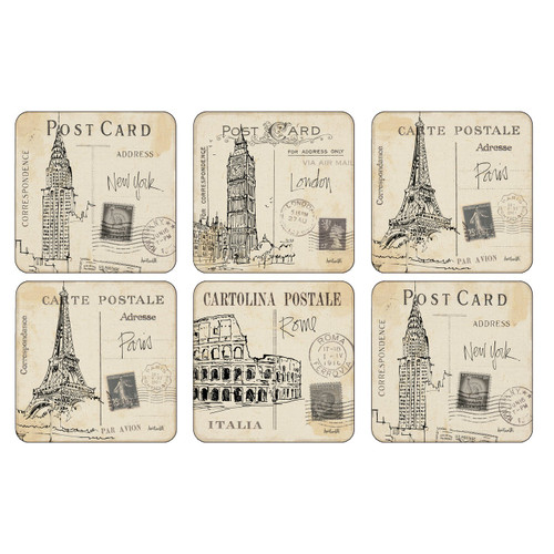 Set of 6 Postcard Sketches Coasters by Pimpernel