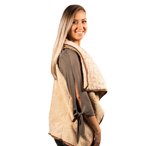 Large Taupe Sherpa Vest by Simply Southern