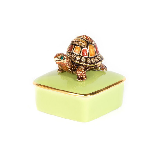 Jay Strongwater Caden Turtle Porcelain Box - Special Order