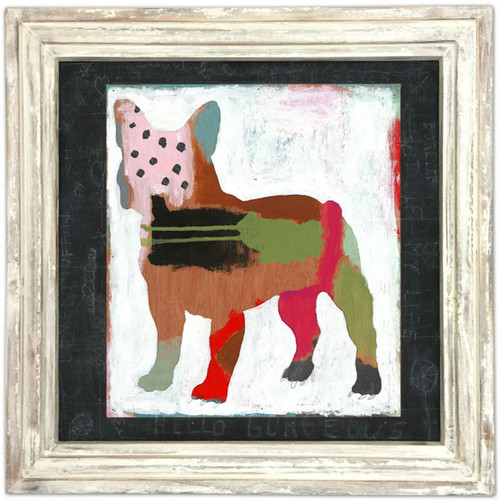 """36"""" x 36"""" Mae Mae Art Print With White Wash Frame by Sugarboo Designs - Special Order"""