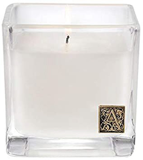 White Teak & Moss 12 oz. Cube Glass Candle by Aromatique