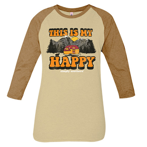 Small Vintage Oatmeal This is My Happy Long Sleeve Tee by Simply Southern