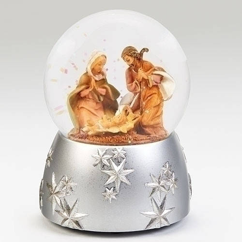 """6"""" Musical Holy Family Glitterdome with Silver Base - Fontanini - Special Order"""