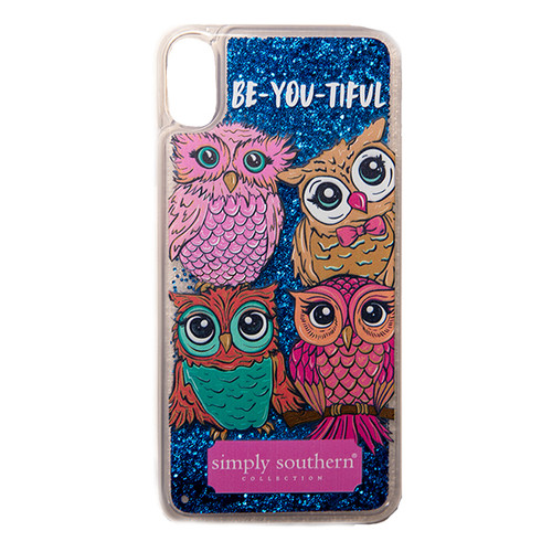 Owl Blue Liquid Glitter iPhone XS Max Phone Case by Simply Southern