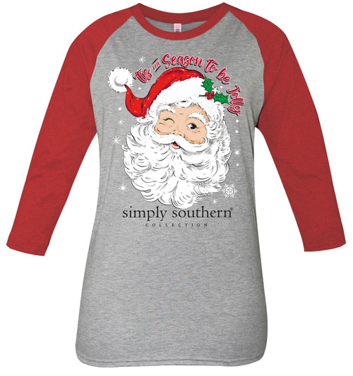 Small Jolly Season Heather Gray Dark Heather Red by Simply Southern