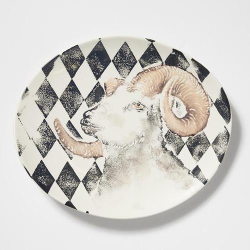 Vietri Into the Woods Ram Oval Platter
