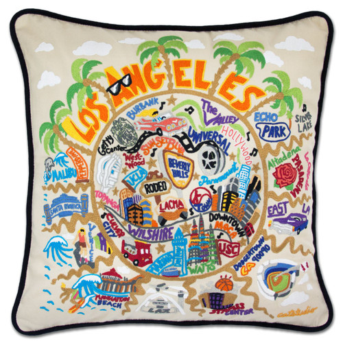 Los Angeles Hand-Embroidered Pillow by Catstudio