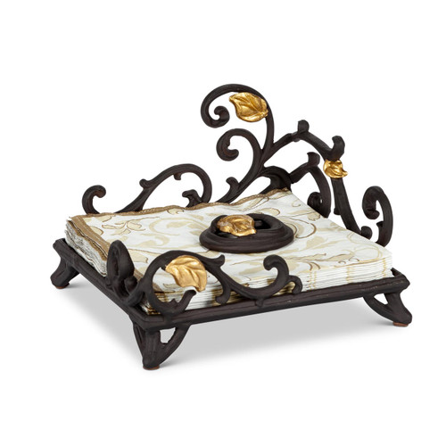 Gold Leaf Lunch Napkin Holder with weight - GG Collection