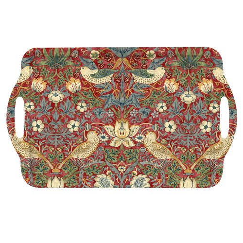 William Morris Strawberry Thief Red Large Melamine Handled Tray by Pimpernel - Special Order