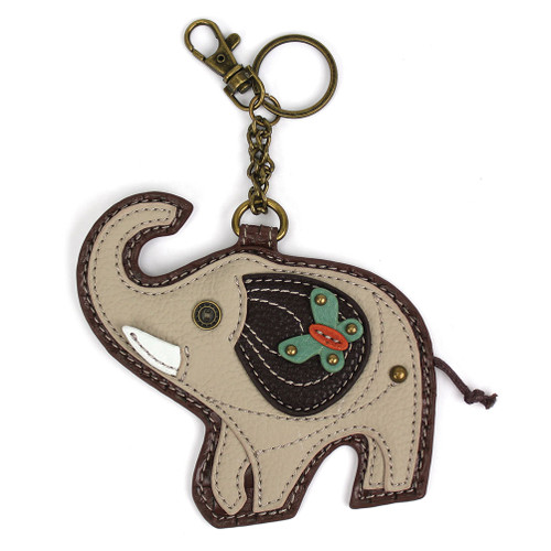Gray Elephant Key Fob and Coin Purse by Chala