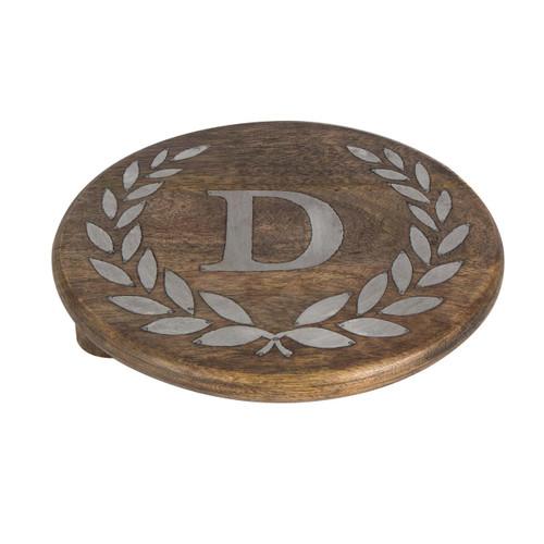 "Heritage Mango Wood with Metal Inlay Monogram 10""  Trivet - D - GG Collection"