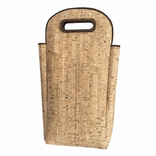 Queork Bamboo/Gold Deluxe Wine Tote Double