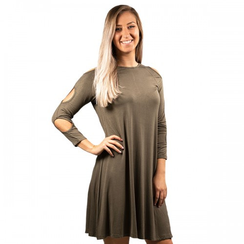 Medium Olive Cold Shoulder Dress by Simply Southern