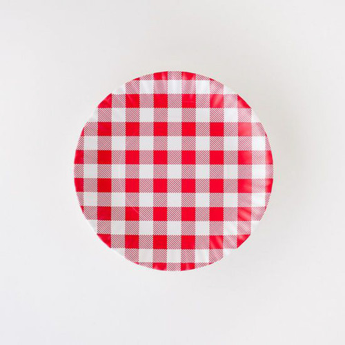 """Red Gingham """"Paper Plate Look"""" Melamine 9"""" Plate by One Hundred 80 Degrees - Set of 4"""