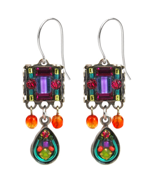 Multi-Color Mosaic Square Earring w/Drop 6483 - Firefly Jewelry